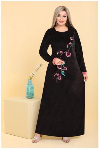 Wholesale  black velvet abaya with rose for home