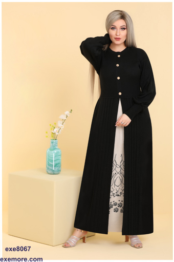 Wholesale  black  open abaya with rose for home